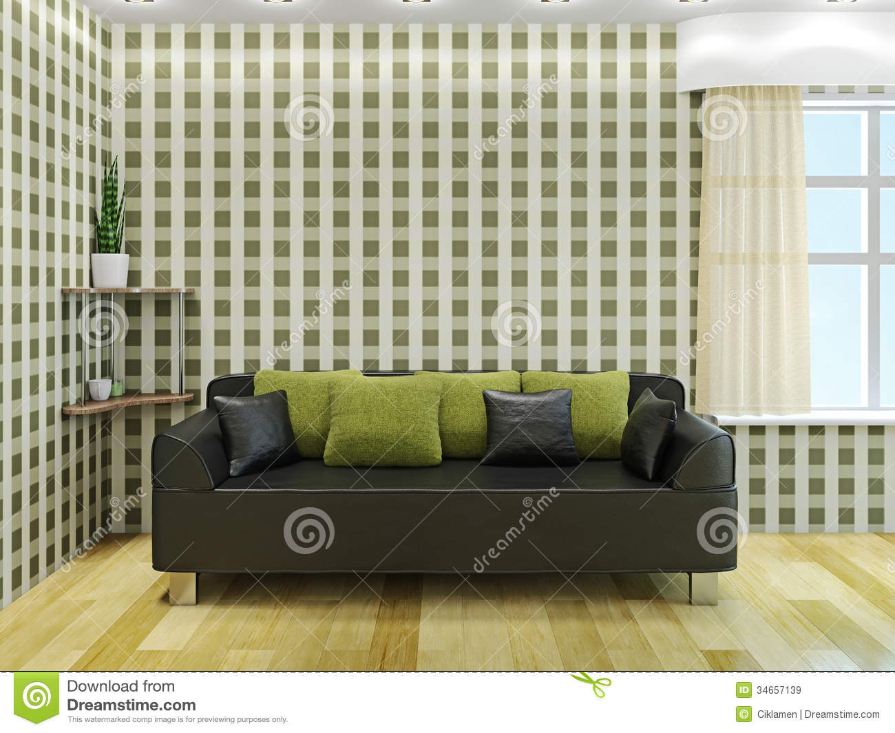 sofa mit gr nen kissen lizenzfreie stockbilder bild. Black Bedroom Furniture Sets. Home Design Ideas