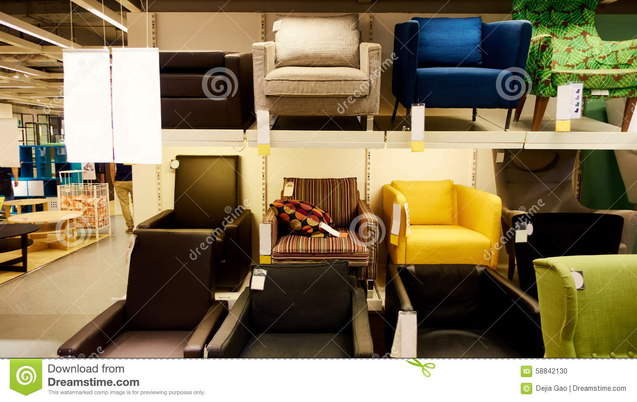 Sofa in modern furniture store. Sofa on sale in retail shop.
