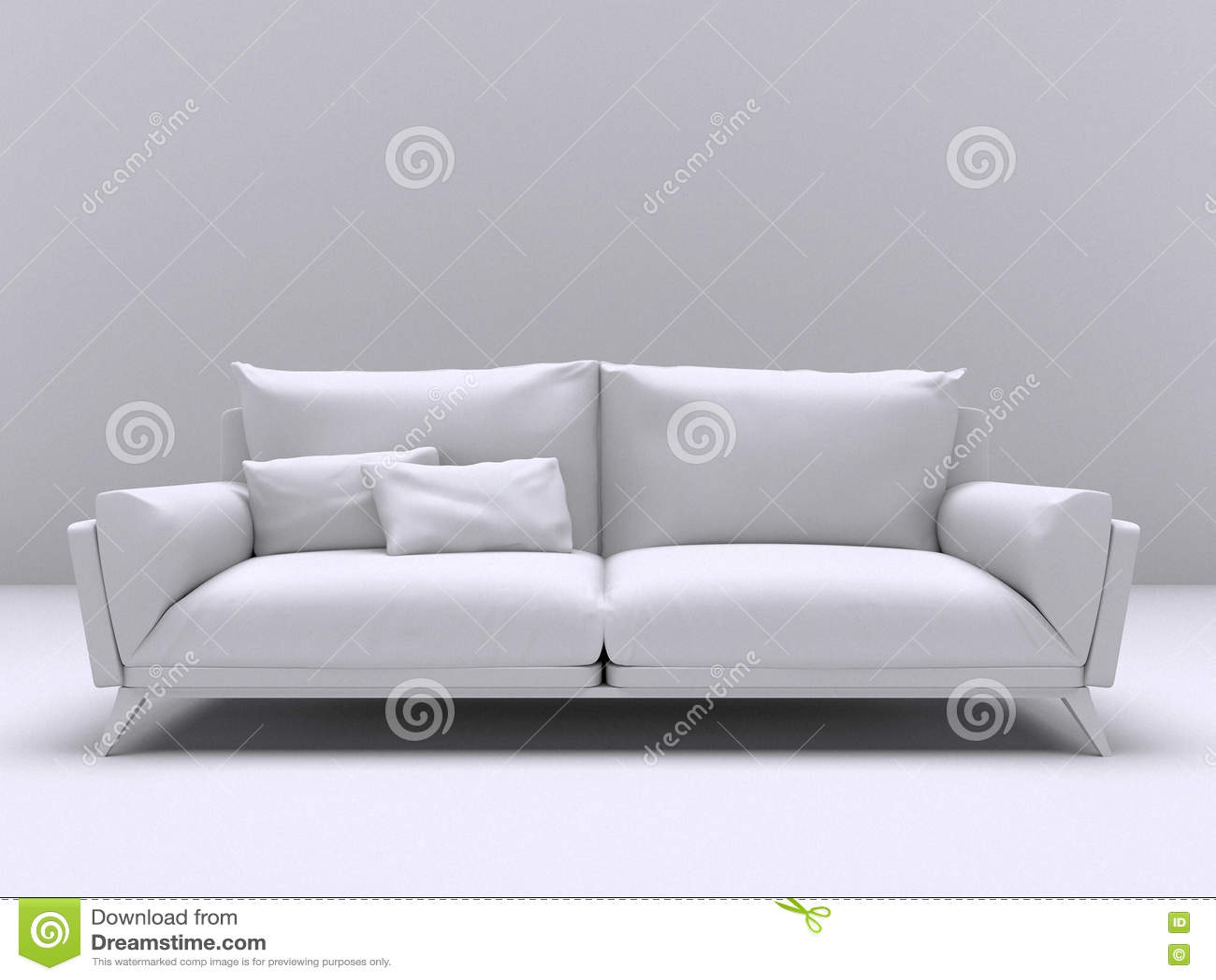 Sofa moderne intérieur blanc avec deux oreillers