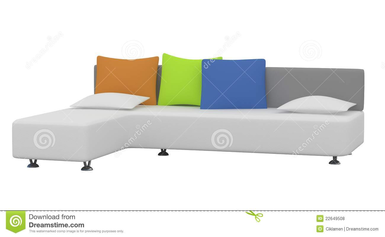 Sofa With Multi Colored Pillows On Royalty Free Stock