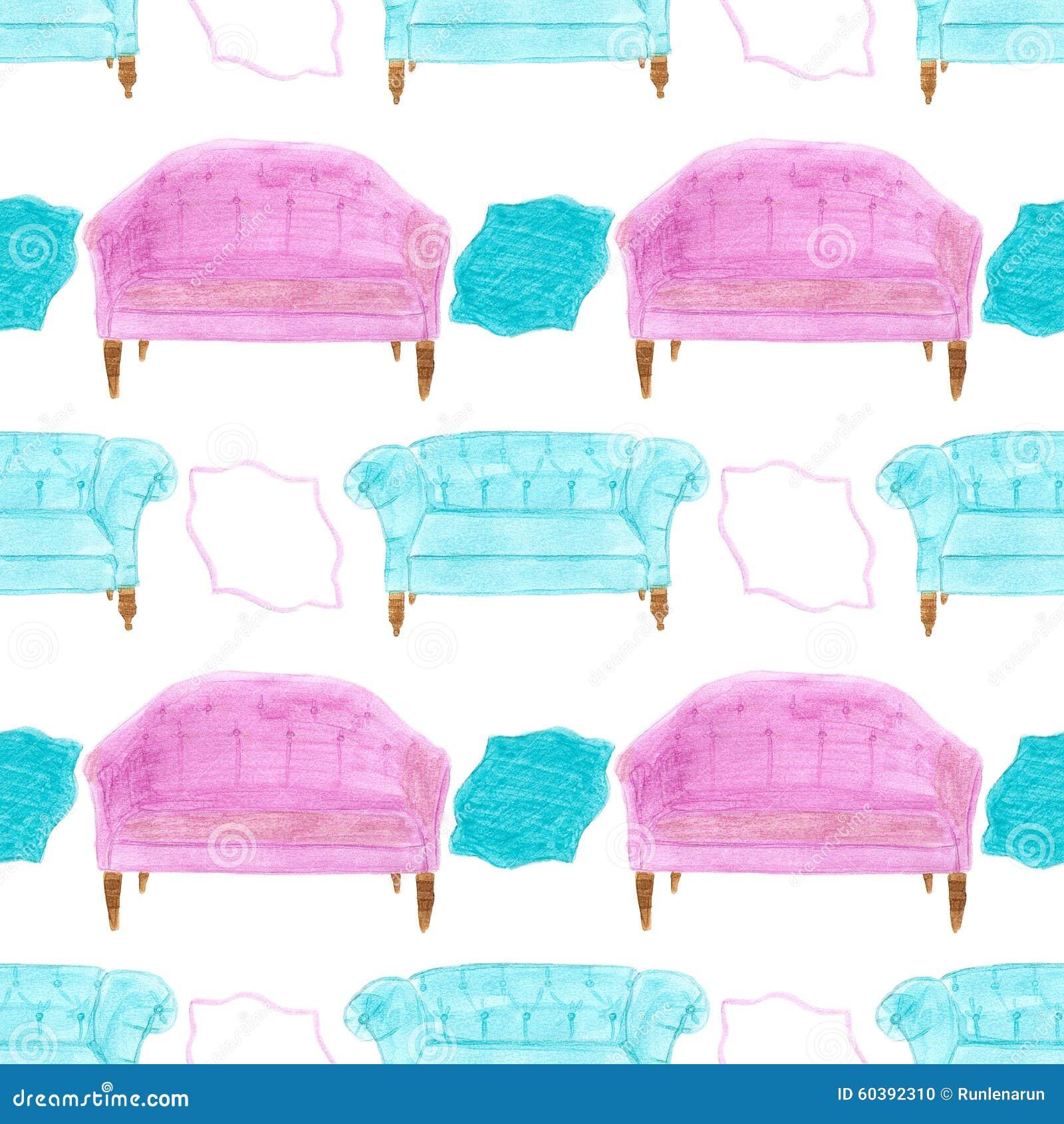 Sofa gezeichnet  Sofa Nahtloses Muster Mit Diwan Von Hand Gezeichnet Stockfoto ...