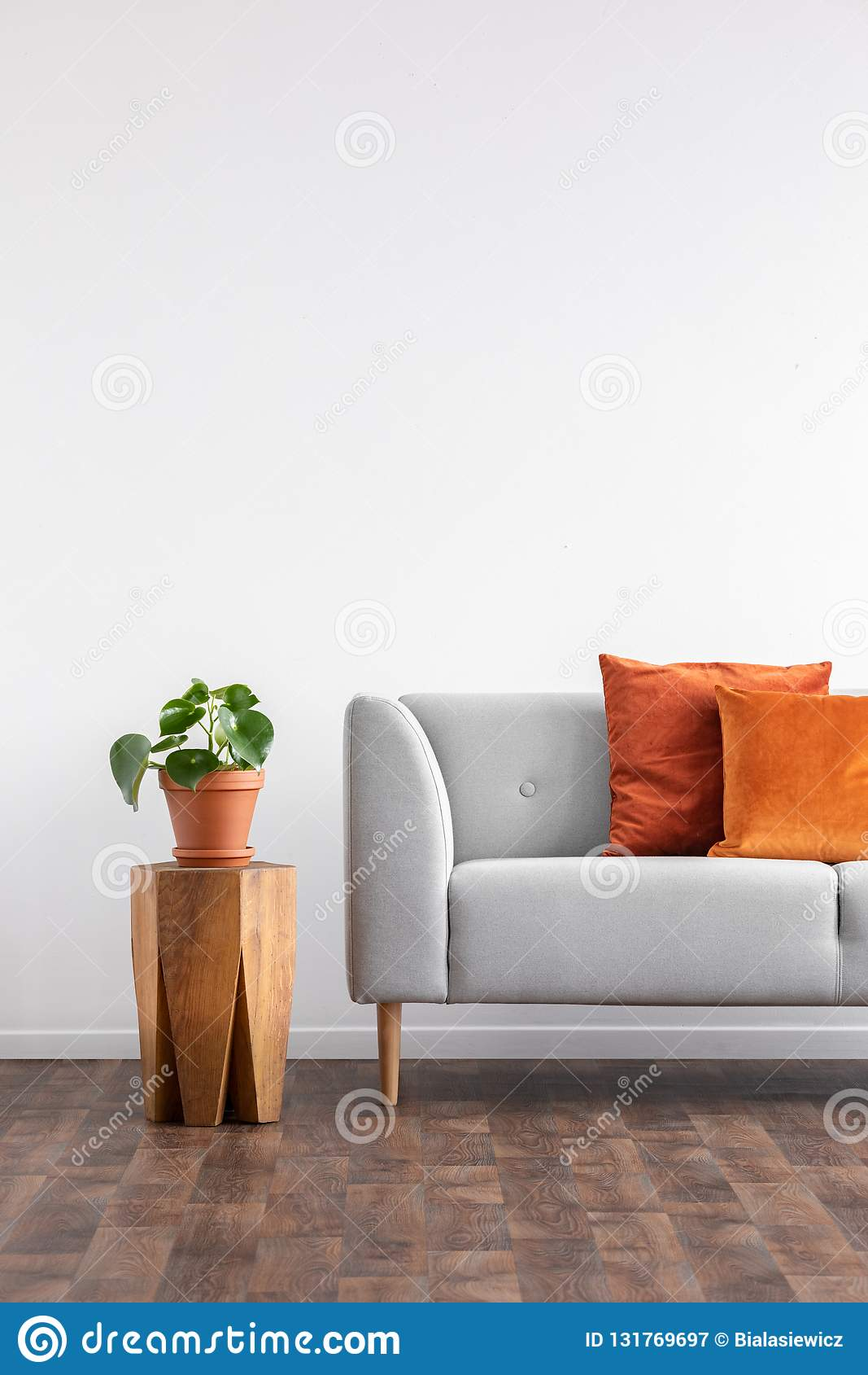 Sofa Next To Plant On Wooden Table In Grey Living Room ...