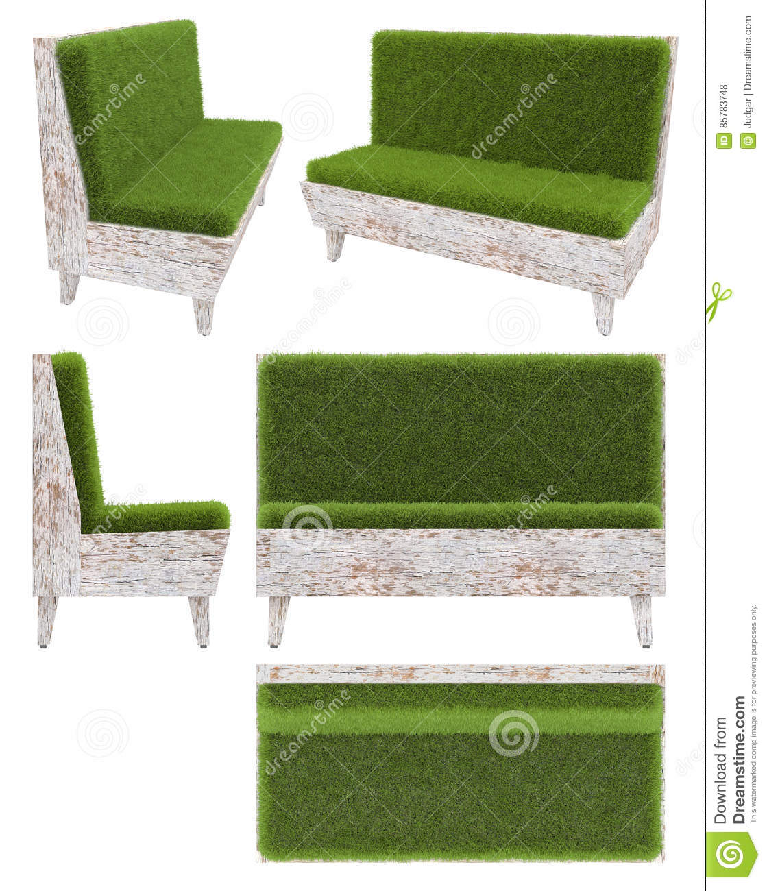 Garden Furniture Top View sofa in old wood with grass cover. garden furniture. top view