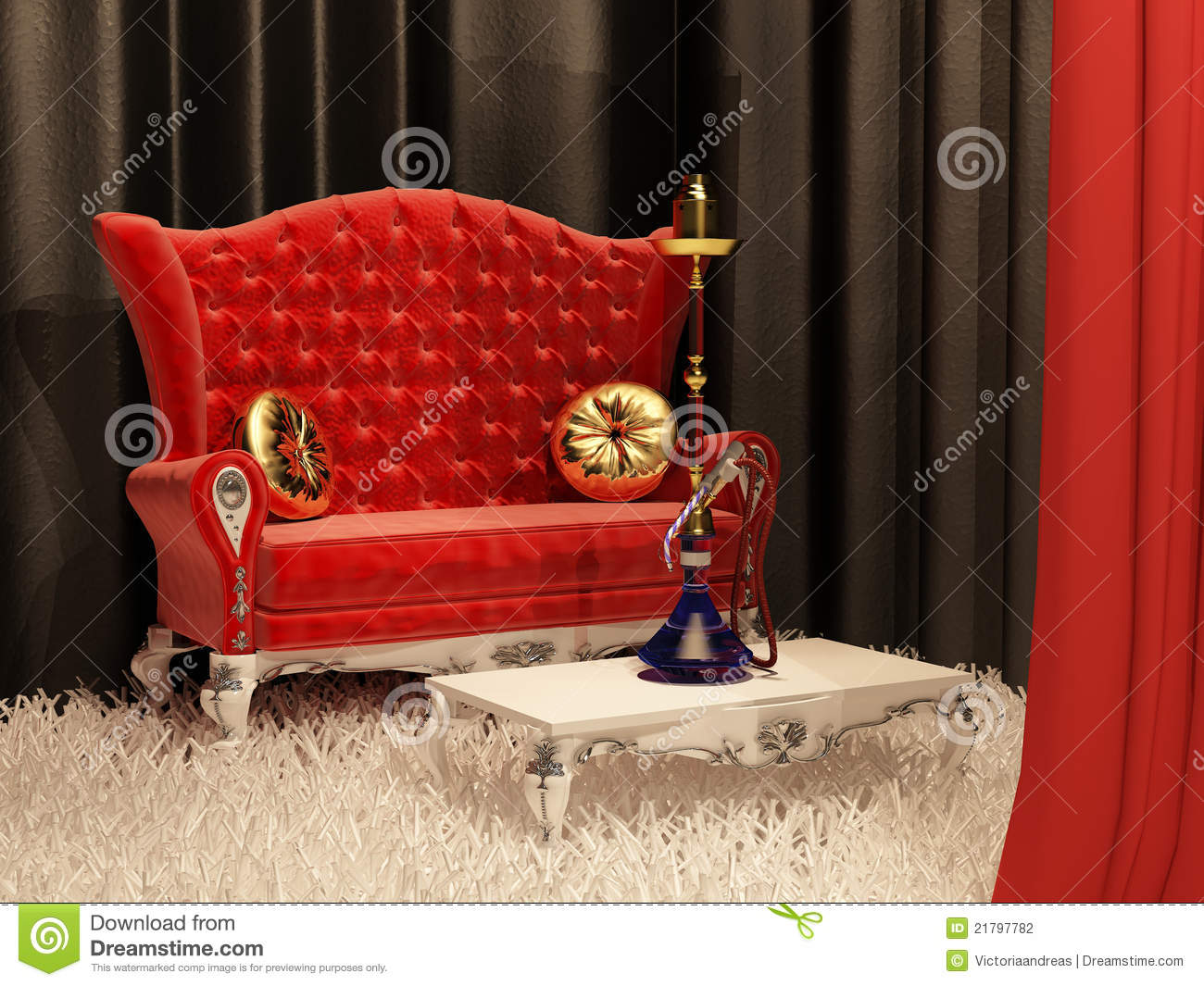 Sofa With Pillow And Hookah In Interior Stock Photography