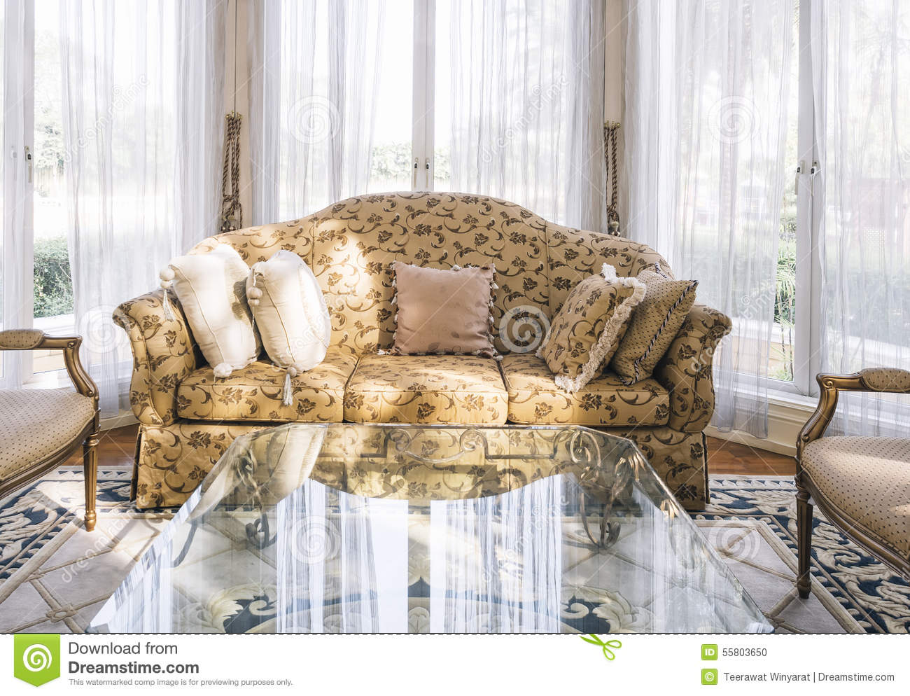 Sofa With Pillows Table Set With Floral Fabric Classic Style