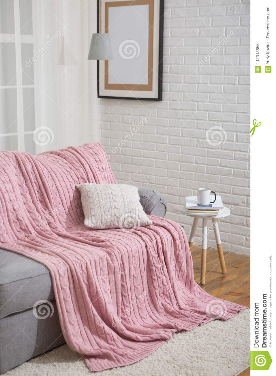 Sofa With Pink Plaid Interior Near Window Stock Image - Image of ...