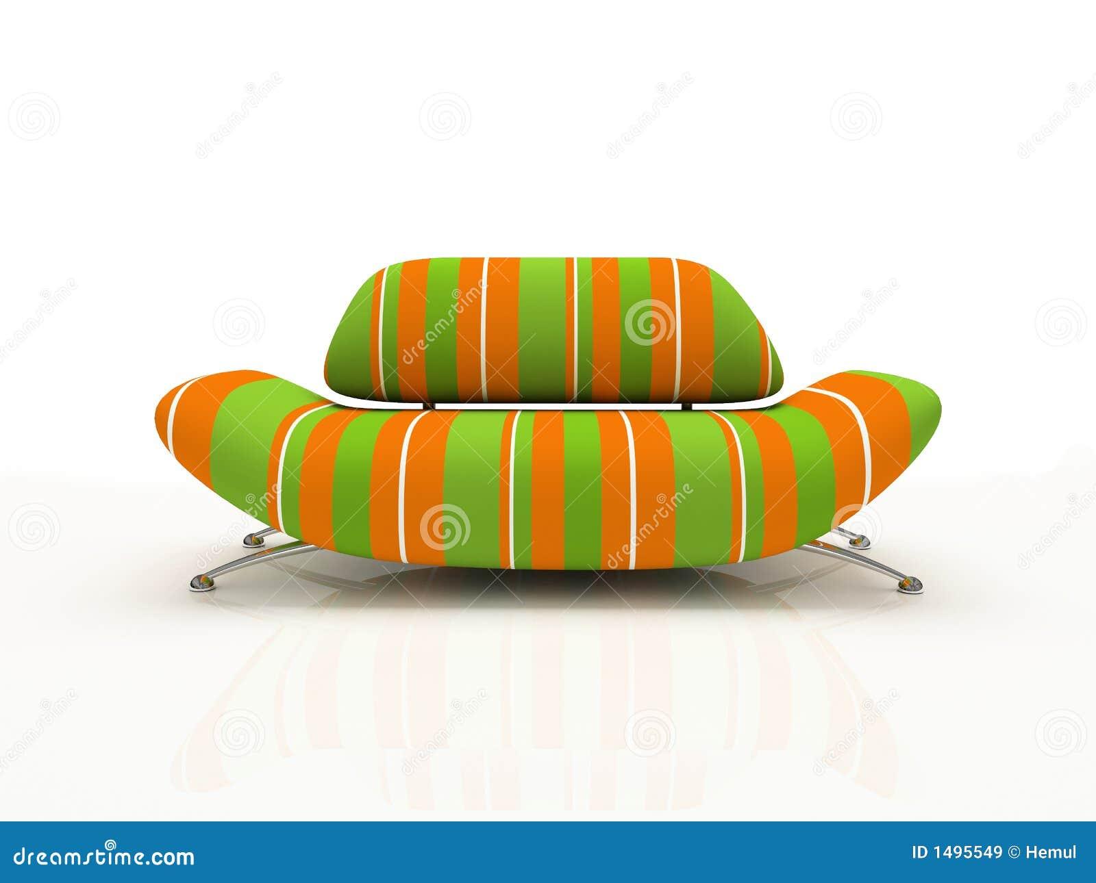 Sofa rayé sur le fond blanc isolé