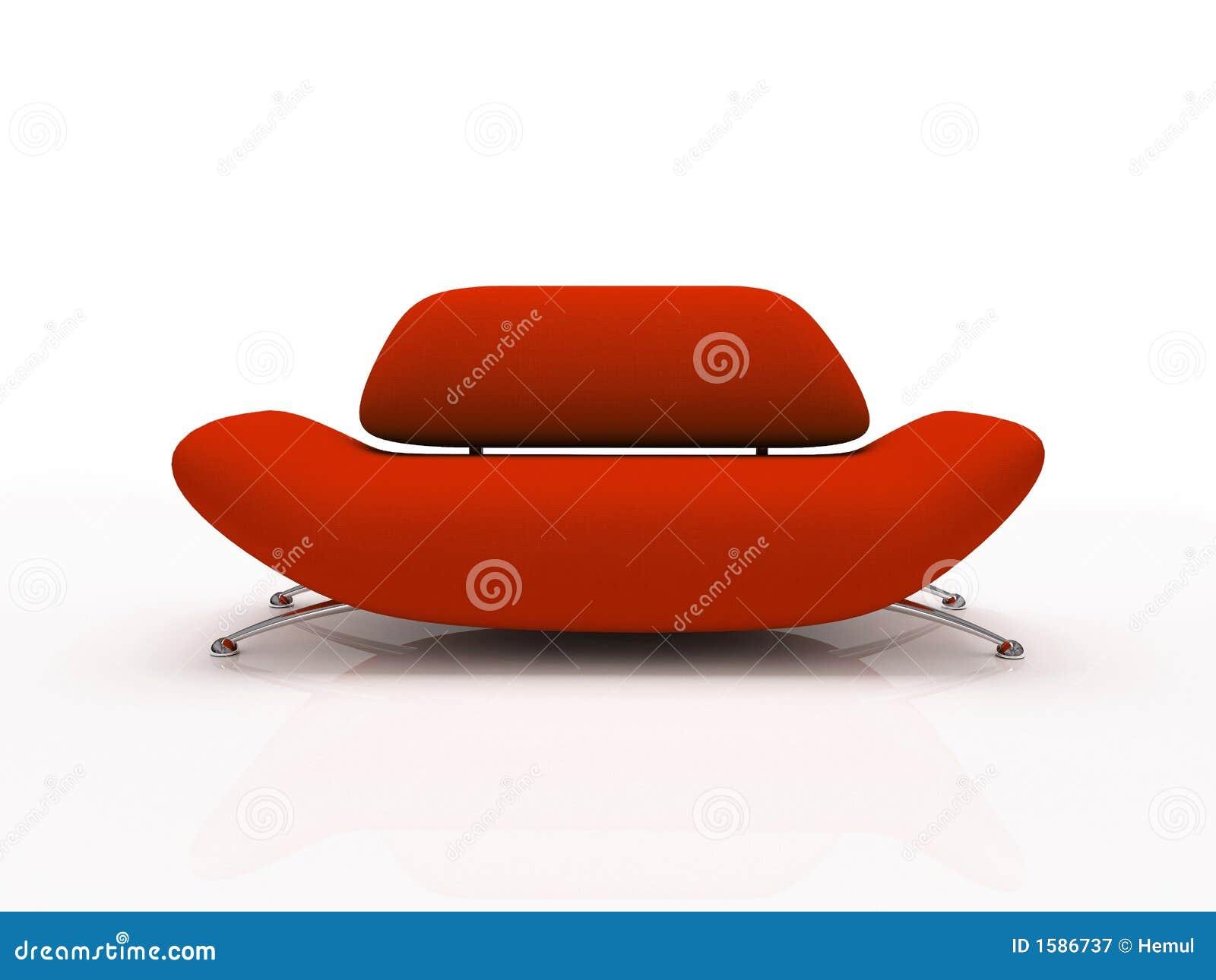 Sofa rouge sur le fond blanc isolé