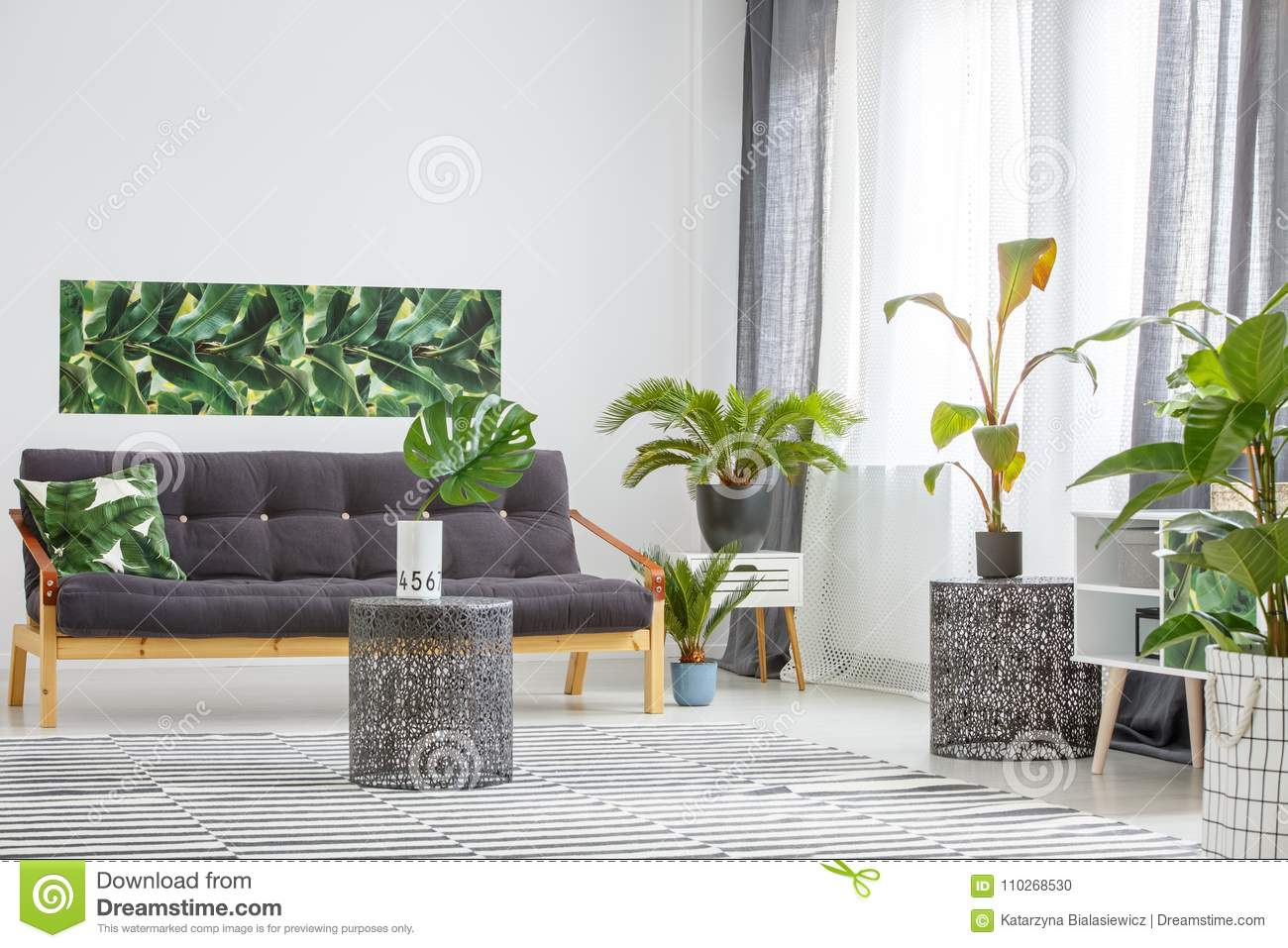 Sofa surrounded by plants stock photo. Image of banana - 110268530