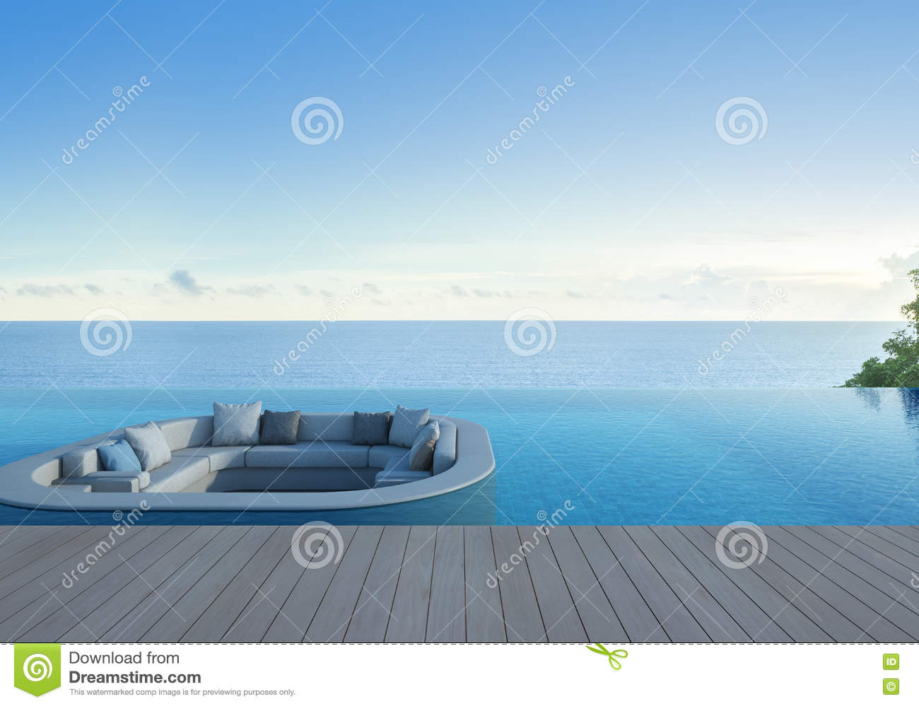 sofa terrace and swimming pool in luxury sea view hotel stock image image of relax ocean. Black Bedroom Furniture Sets. Home Design Ideas
