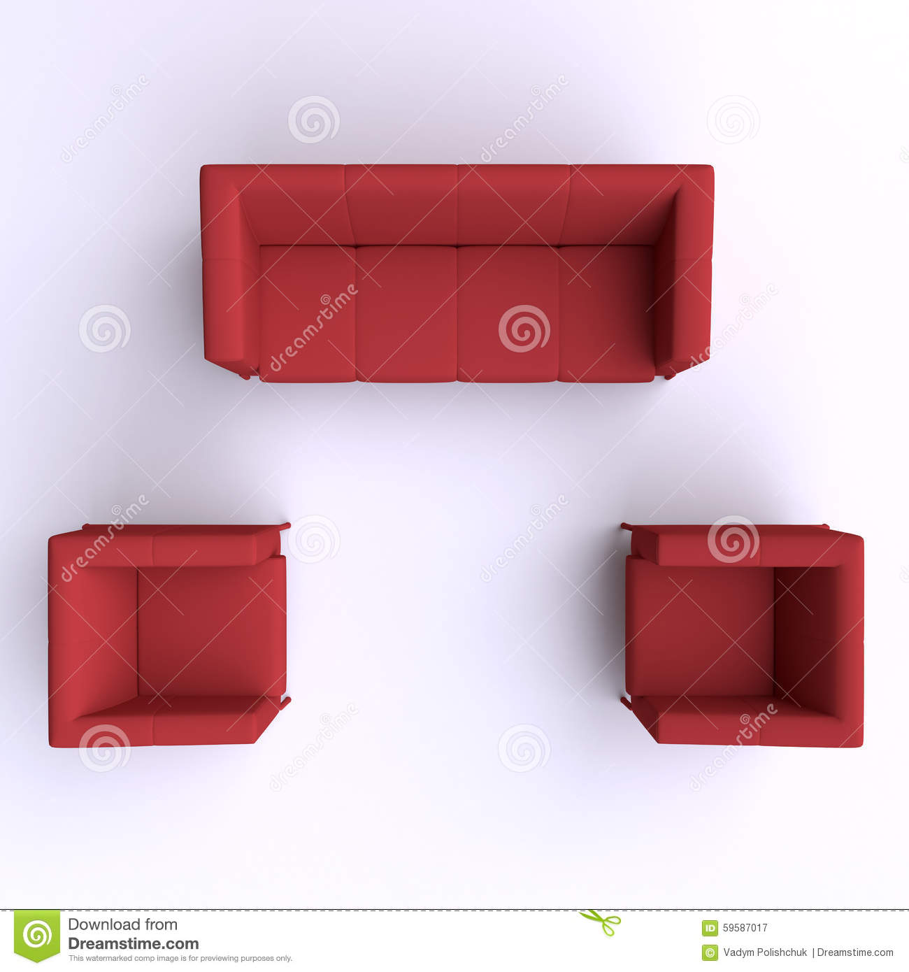 Sofa And Two Chairs Top View Stock Illustration Image 59587017