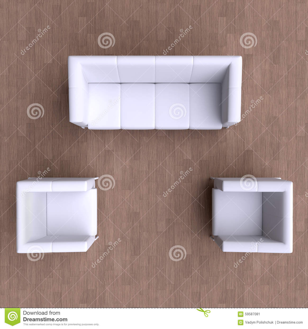 Sofa And Two Chairs. Top View. Stock Illustration - Image: 59587081