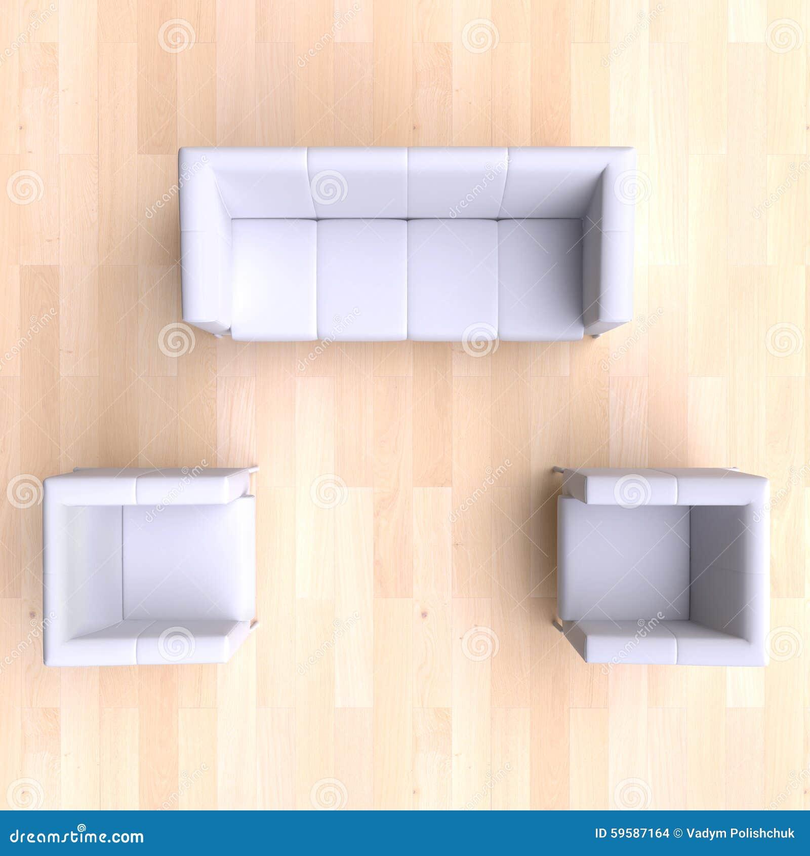 Sofa set top view psd