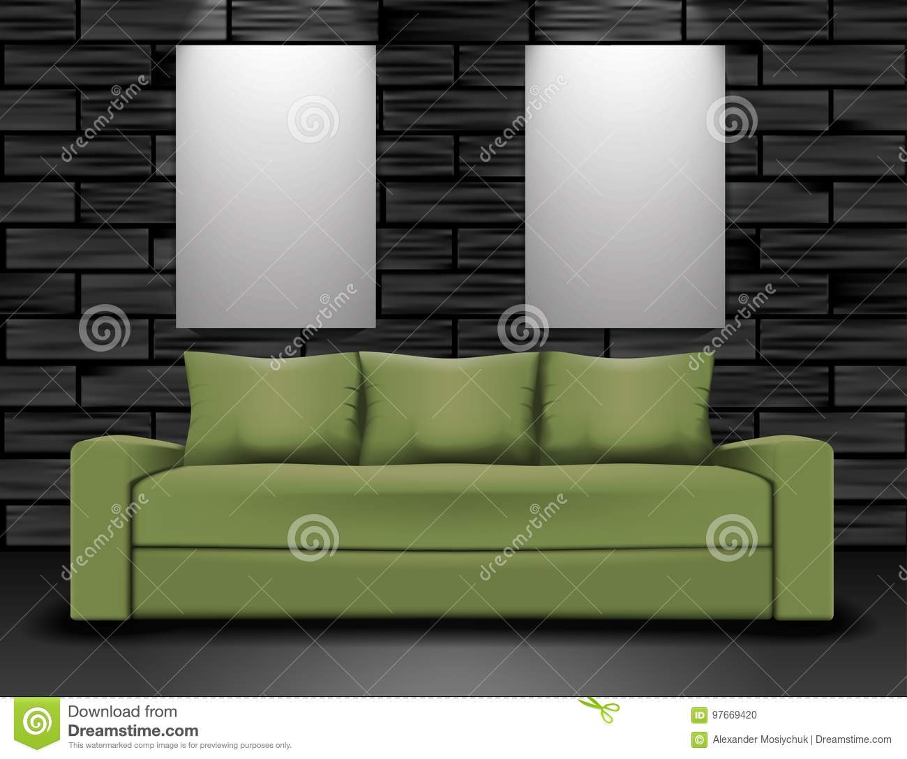 Sofa And Two Posters Mockup Home Interior Illustration Stock Vector