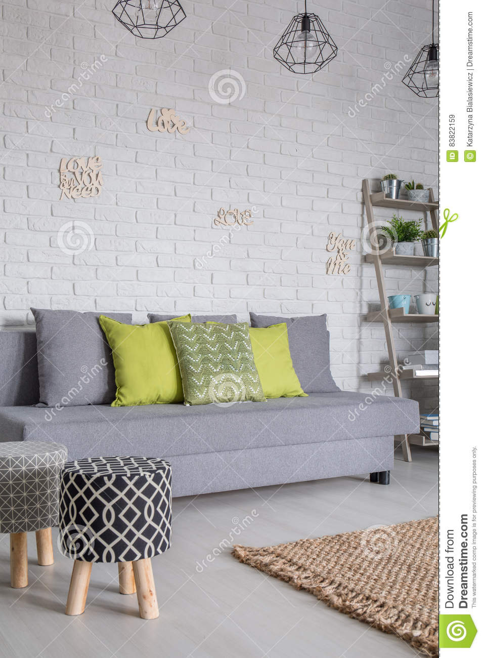 Lovely Sofa And Upholstered Stools. Living Room ... Part 32