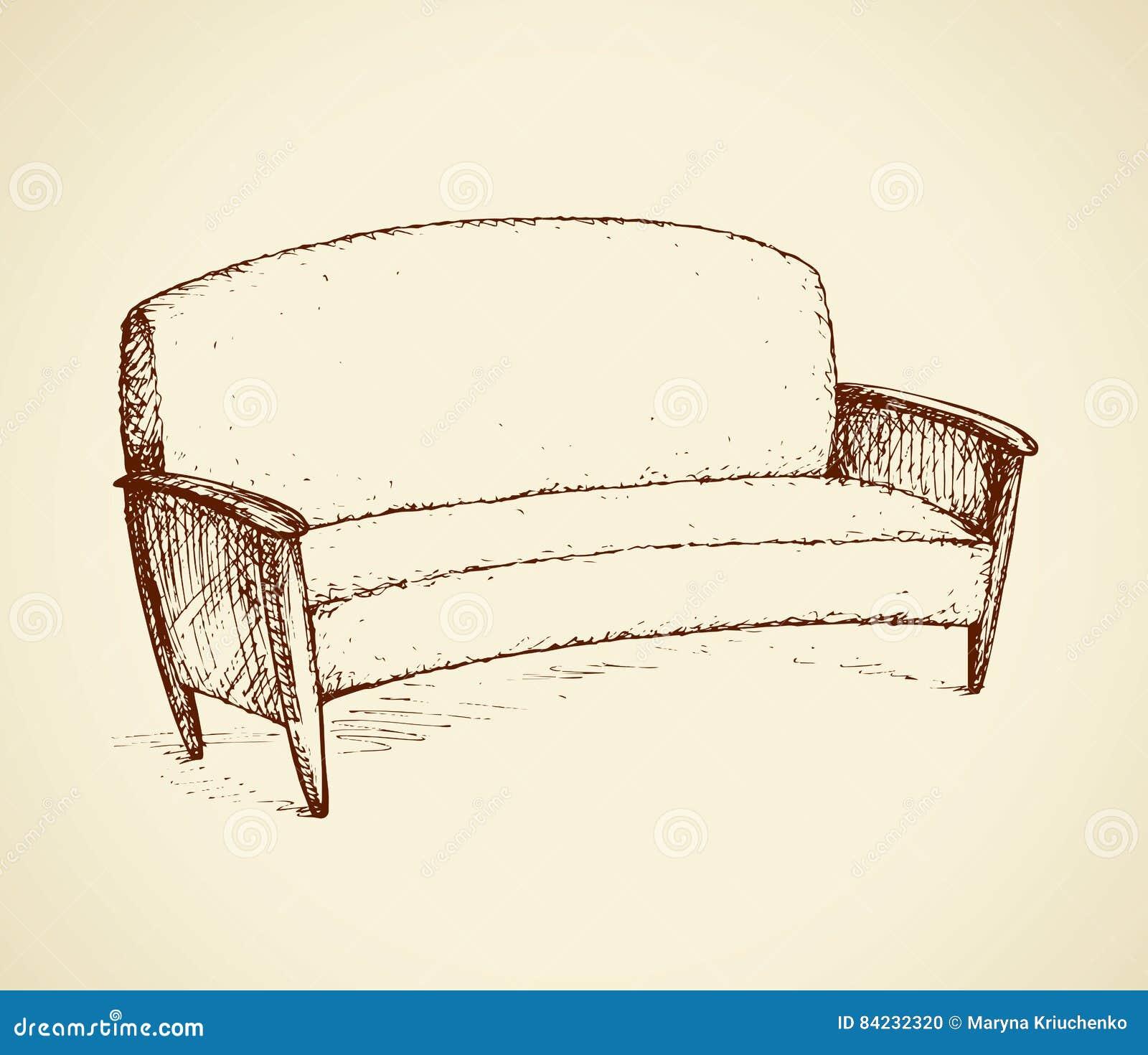 Sofa Vector Drawing Stock Vector Illustration Of Illustration