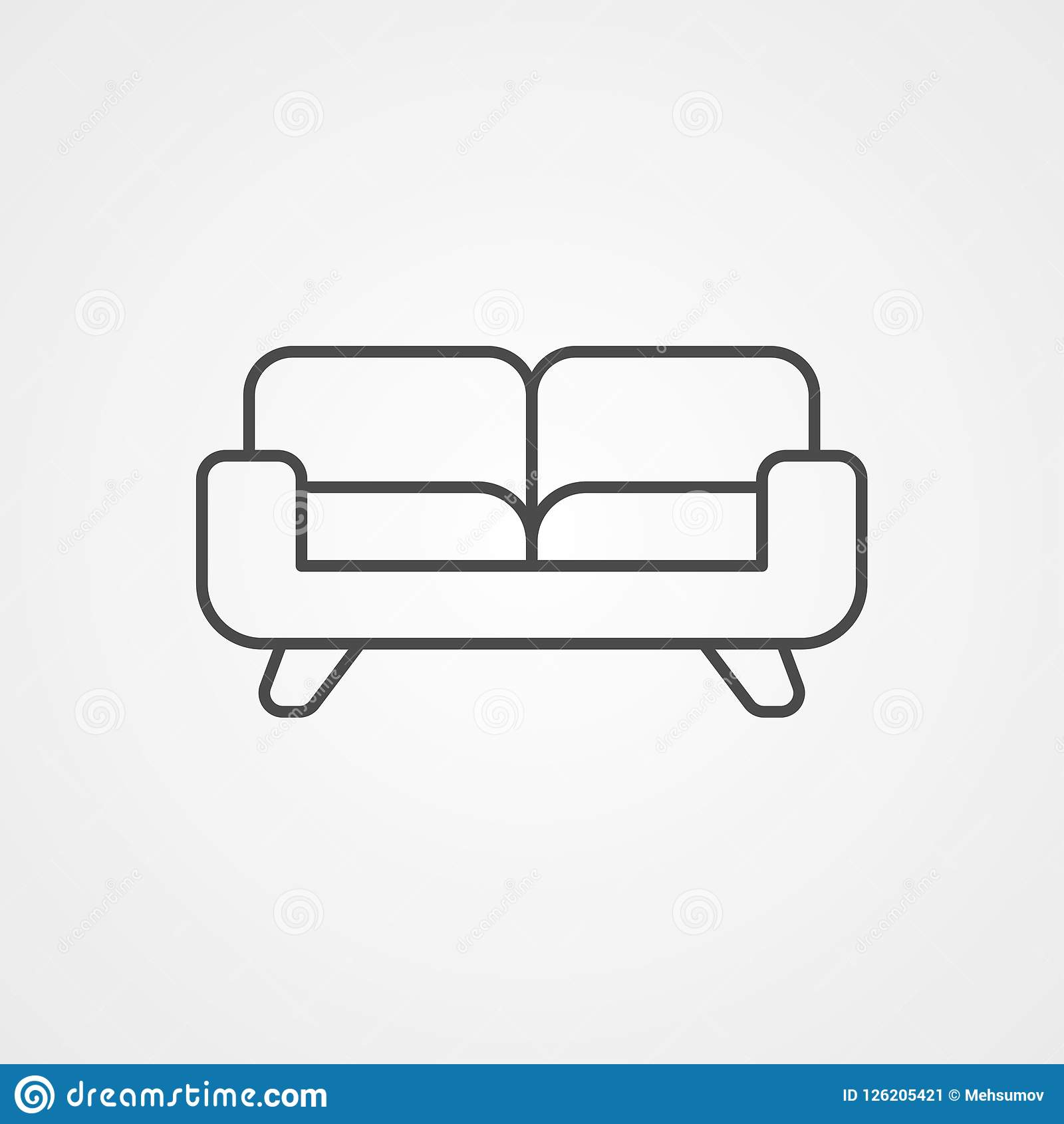 Sofa Vector Icon Sign Symbol Stock Vector Illustration Of