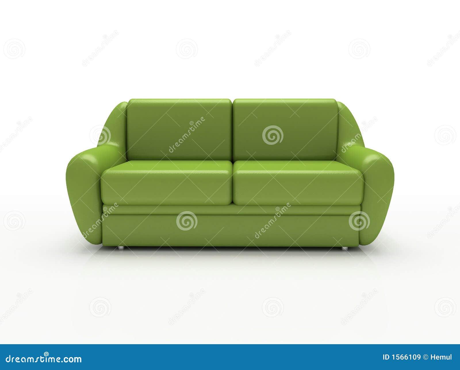 Sofa vert sur le fond blanc isolé