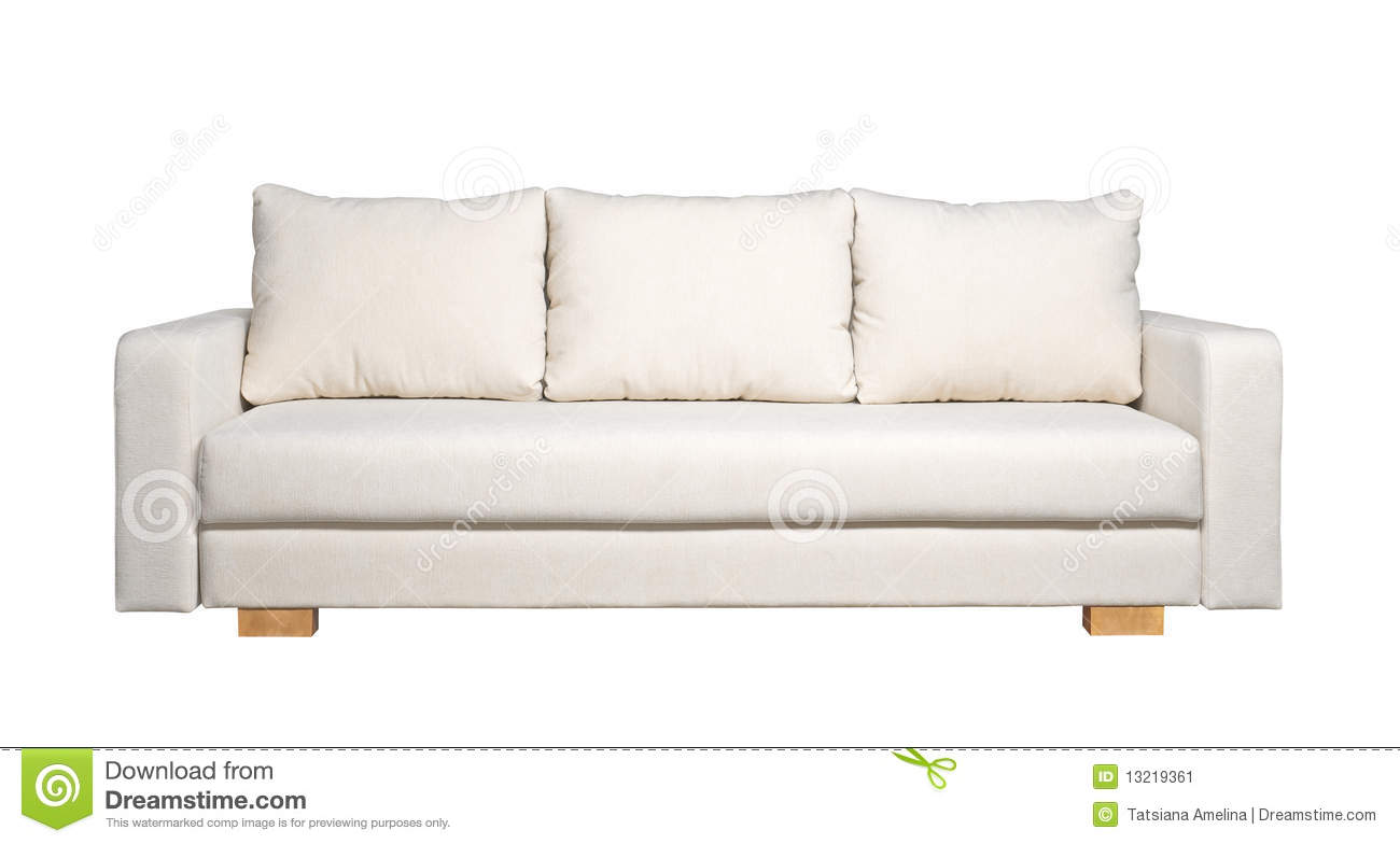 Sofa With White Fabric Upholstery Front View Stock Image Image 13219361