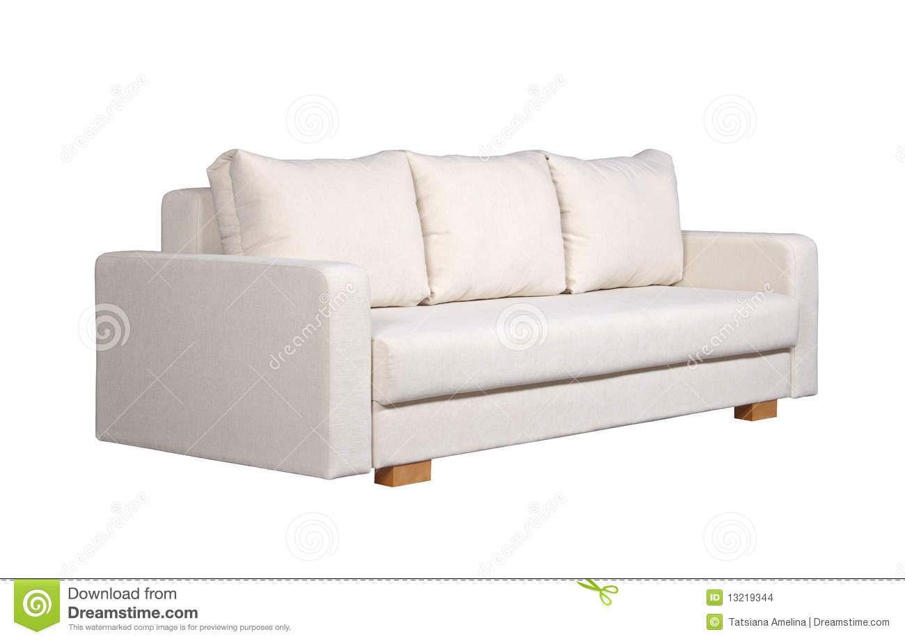 Sofa With White Fabric Upholstery Side View Stock Images Image 13219344
