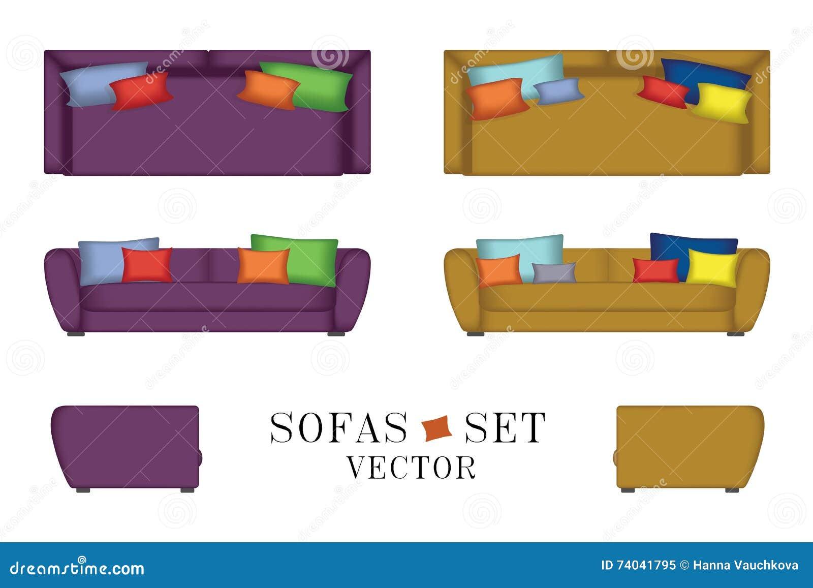 Sofas Set Furniture For Your Interior Design Vector Illustration