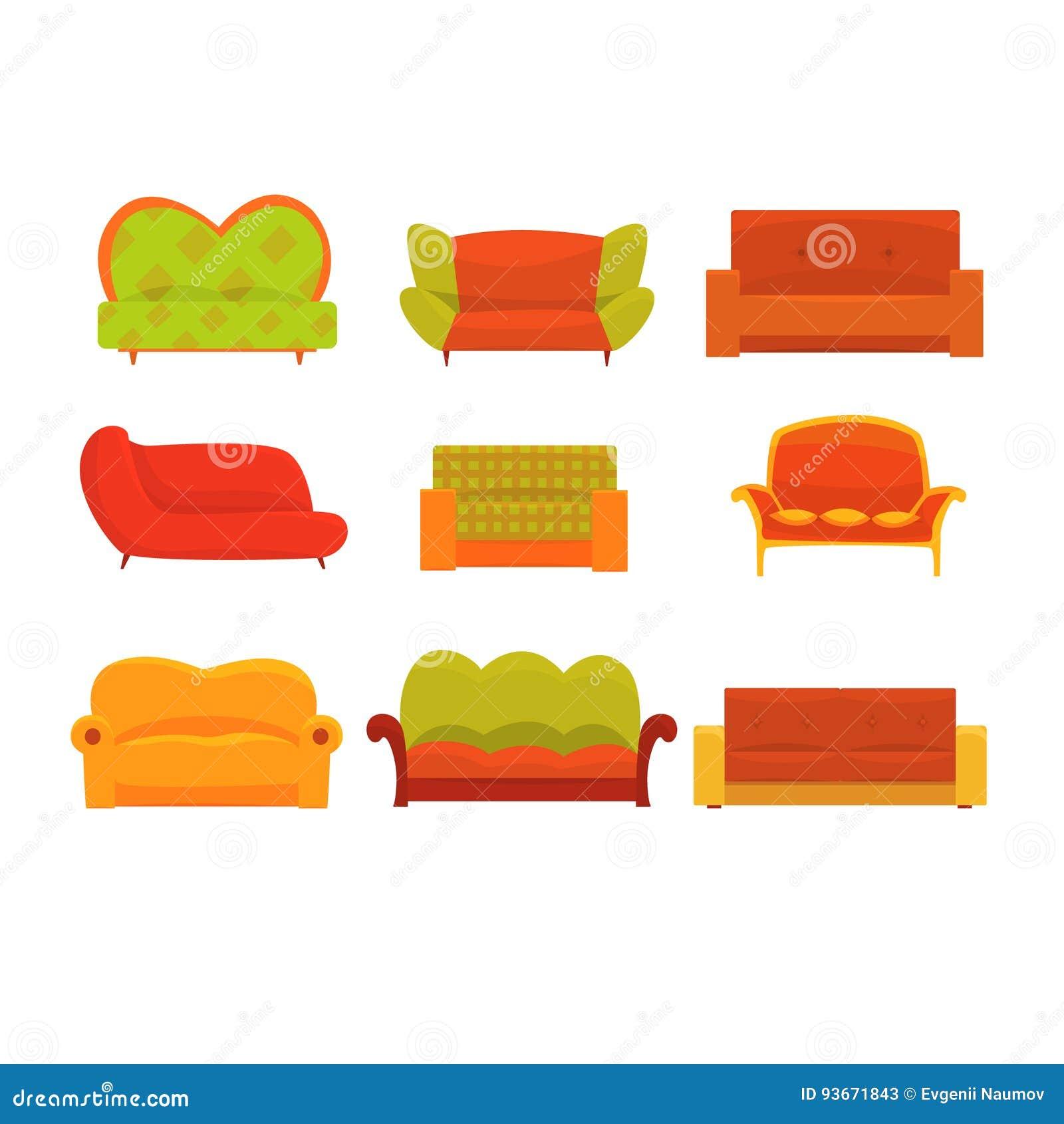 Sofas Und Lehnsessel Innenelemente Bequemer Couchsatz Bunte