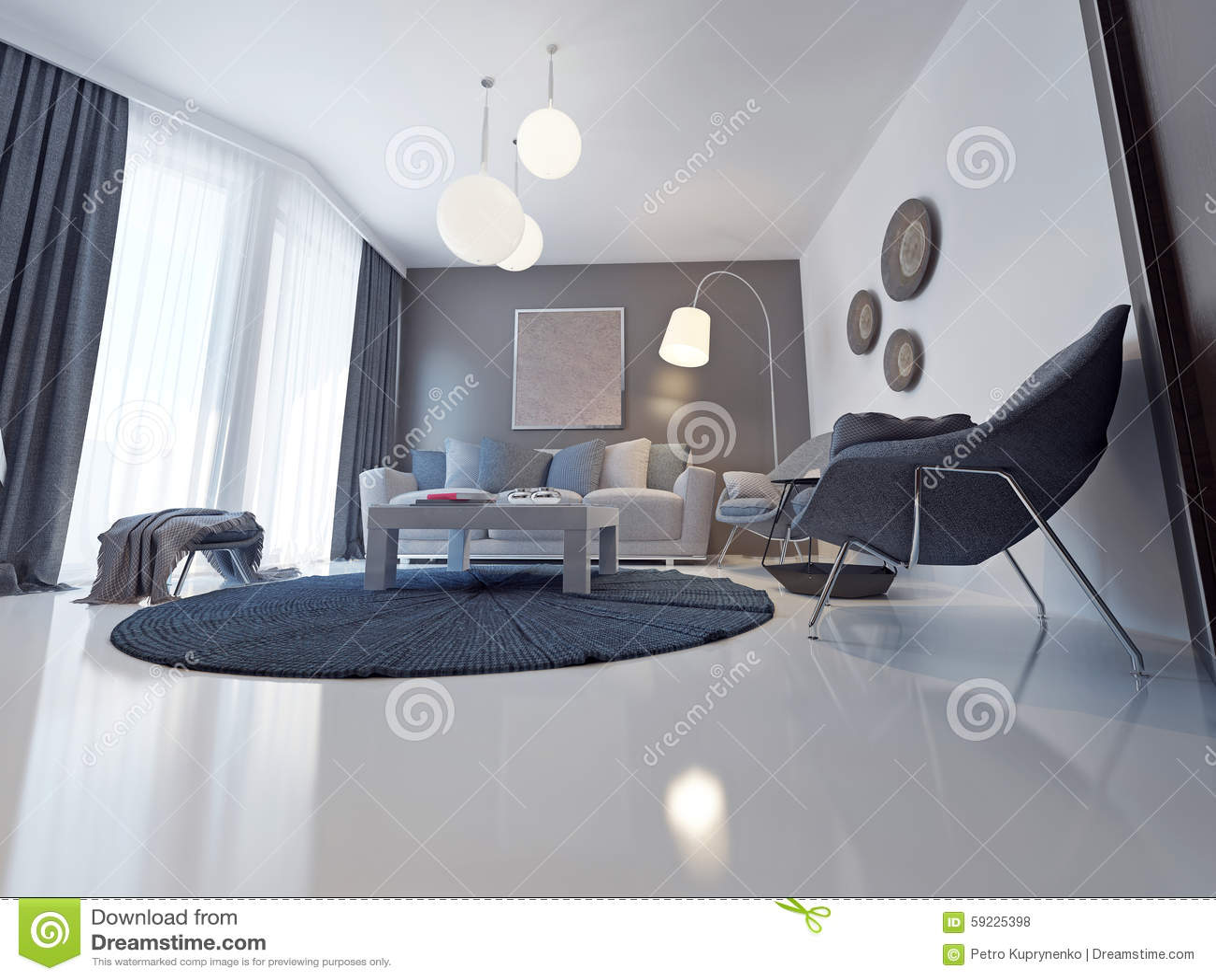 Soffa av silkespappret i en modern vardagsrum stock illustrationer ...