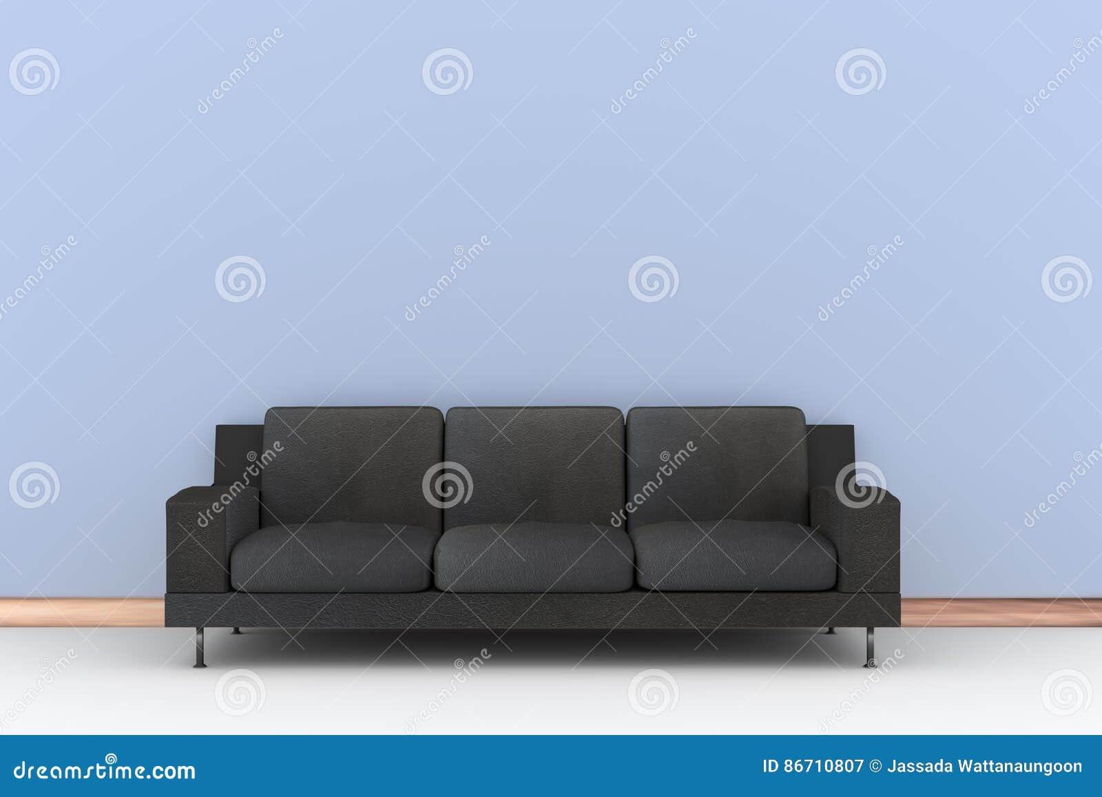 Soffa för svart 3d och blåttvägg