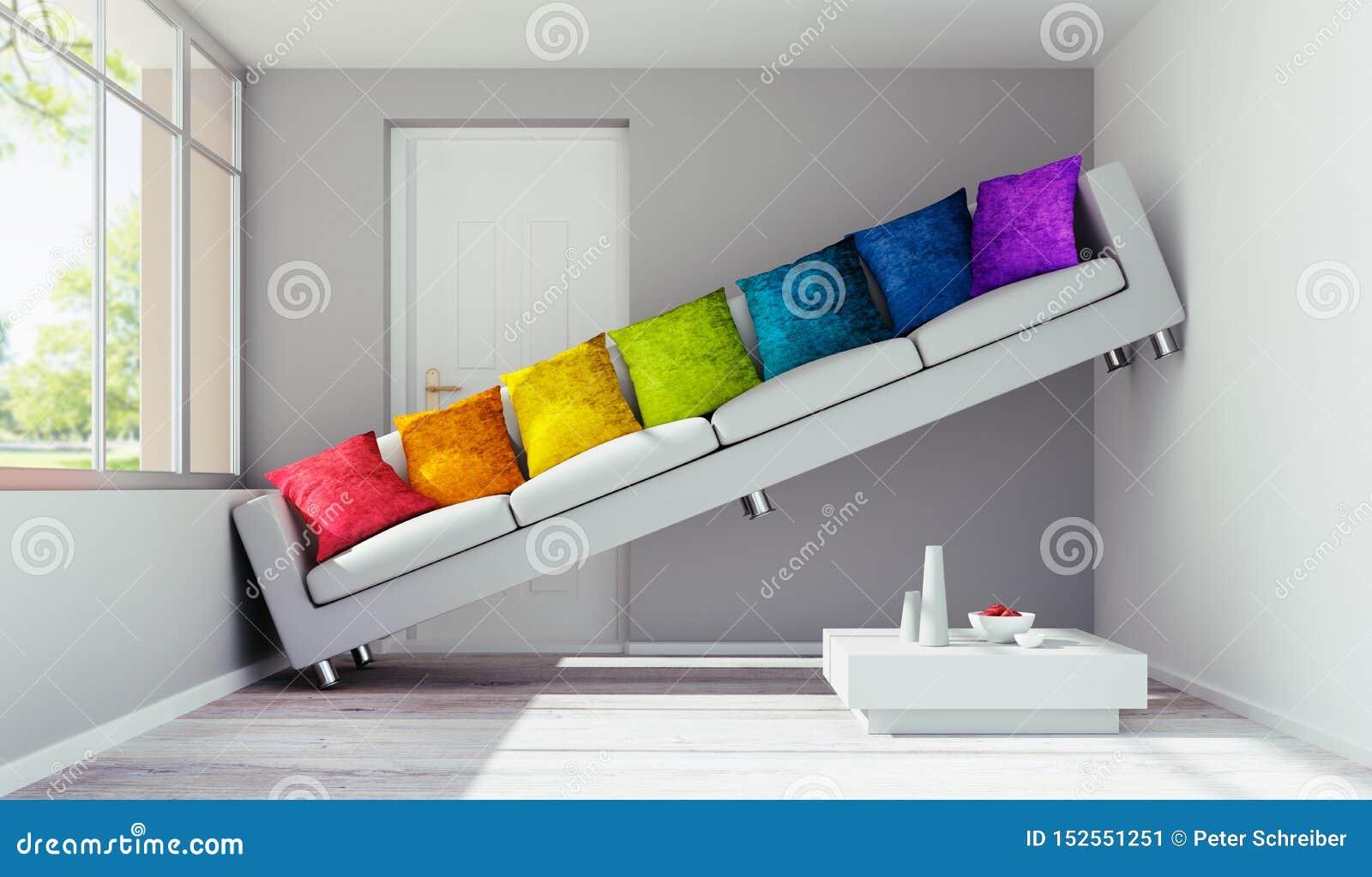 Soffa med kuddar i ett mycket litet rum