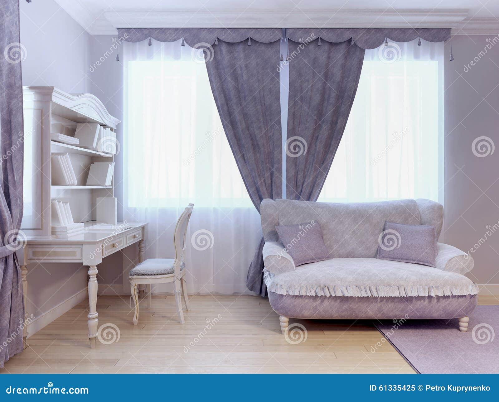 Soffa och skrivbord i sovrum stock illustrationer   bild: 61335425