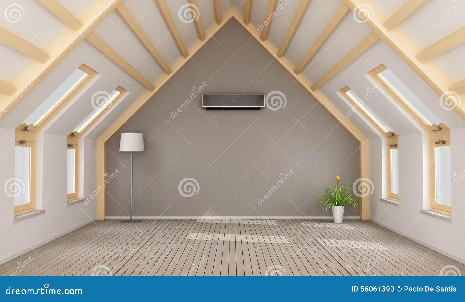 Soffitta moderna senza mobilia