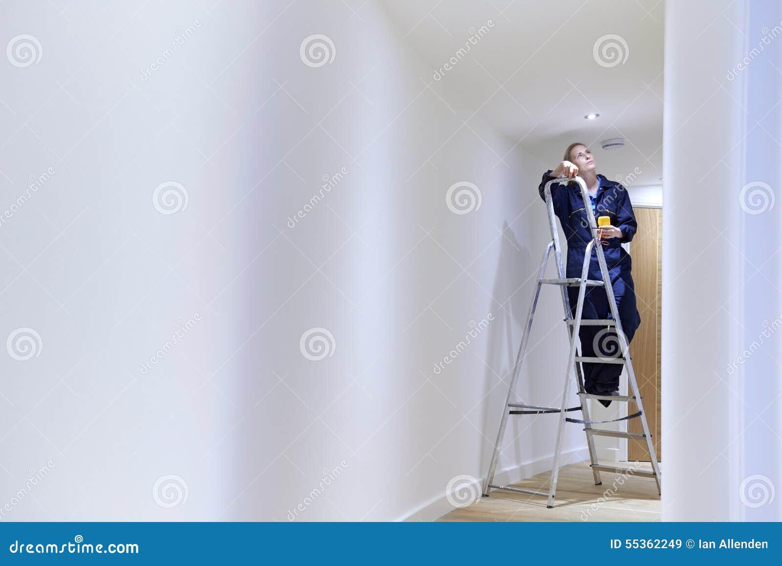 Soffitto femminile di Installing Lights In dell elettricista