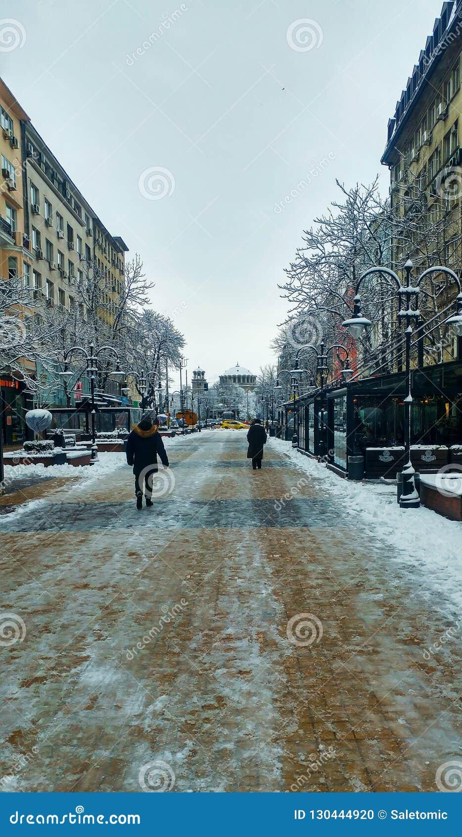 Sofia, Bulgaria - 22 gennaio 2018: Streptococco di camminata pedonale di Sofia