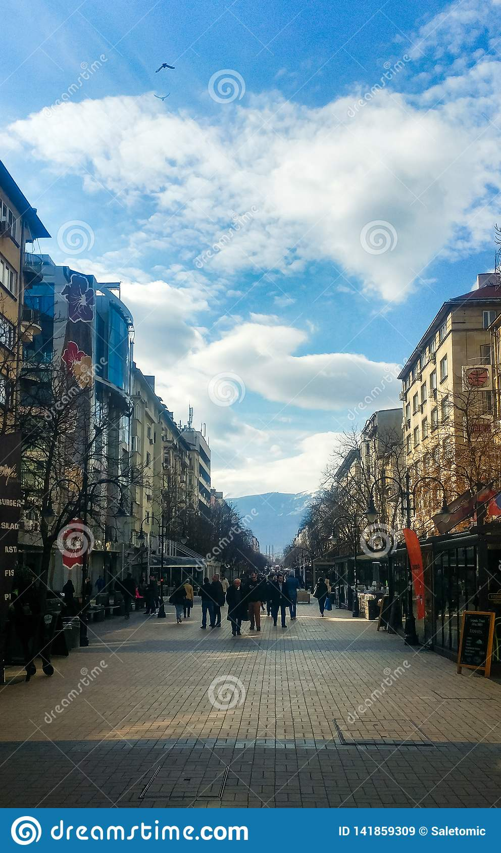 Sofia, Bulgaria - March 11, 2019: Sofia pedestrian walking street on a sunny day