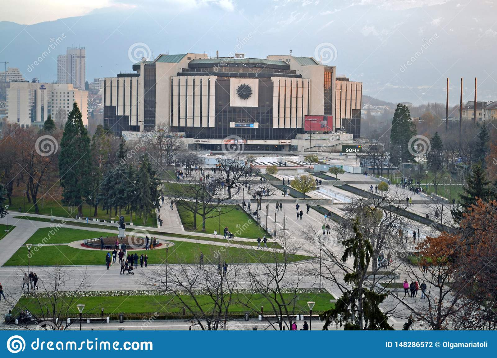 Sofia / Bulgaria - November 2017: Balcony view of the National palace of culture NDK, the largest, multifunctional conference