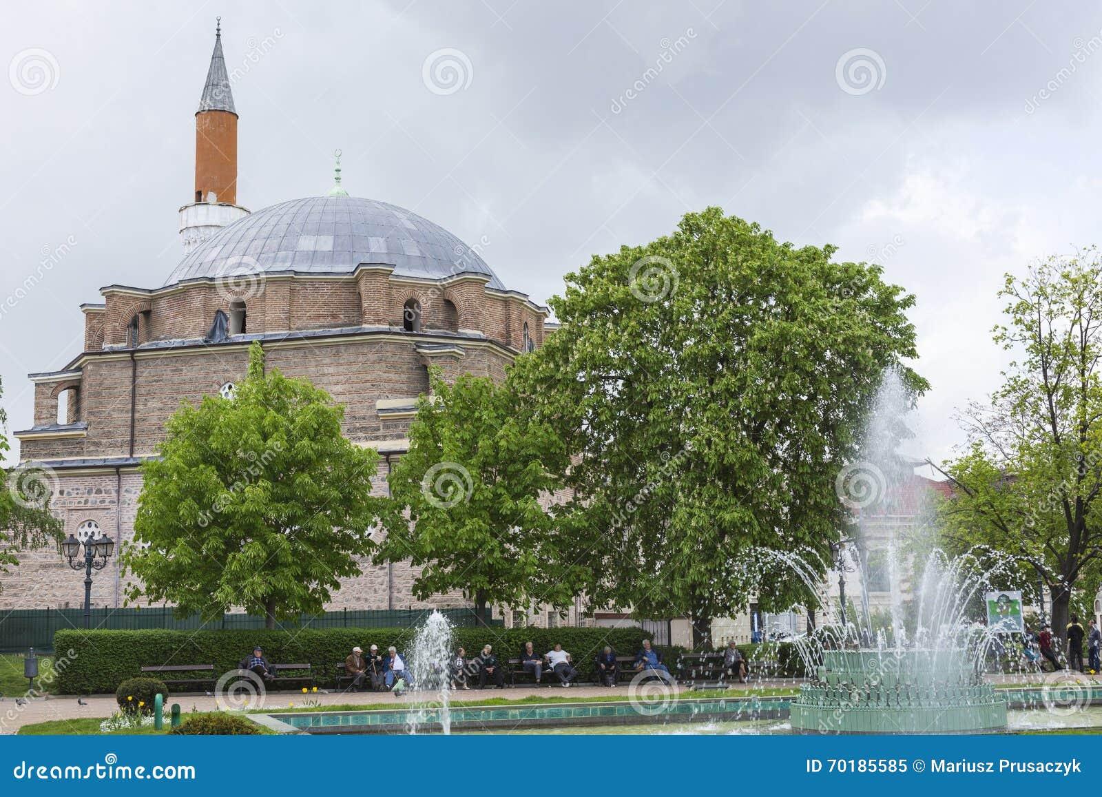 SOFIA BULGARIEN - APRIL 14: Den Banja Baschi moskén, gränsmärke
