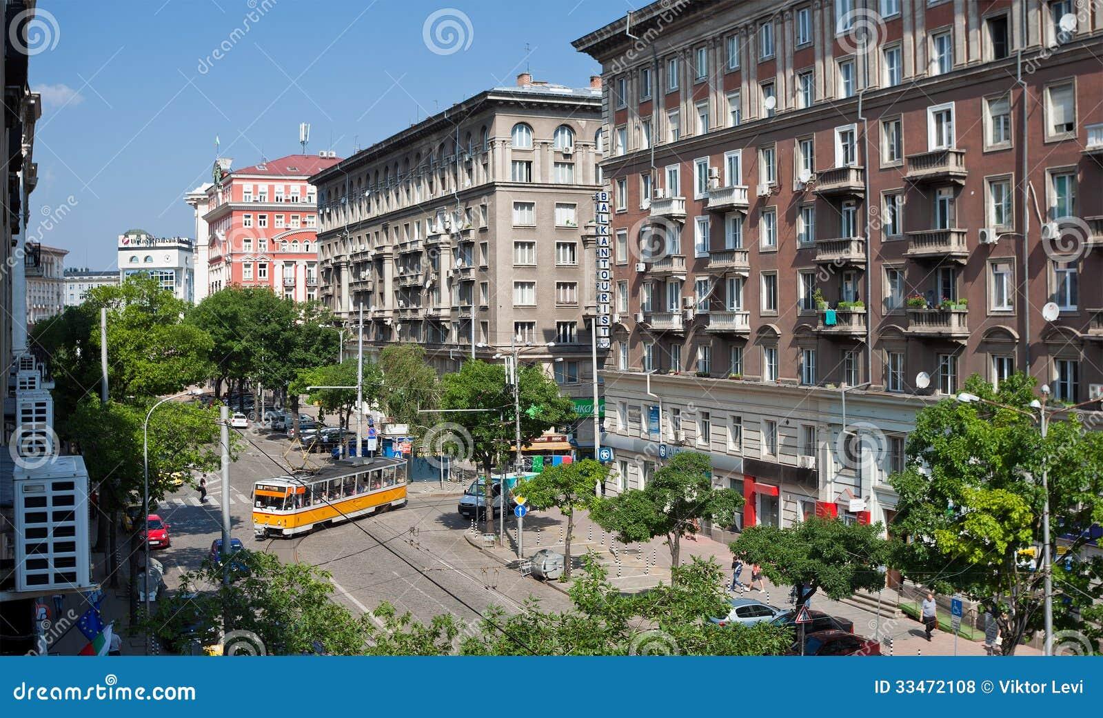 SOFIA, BULGARIA - JUNE 25: General street view of General Dondukov blv ...