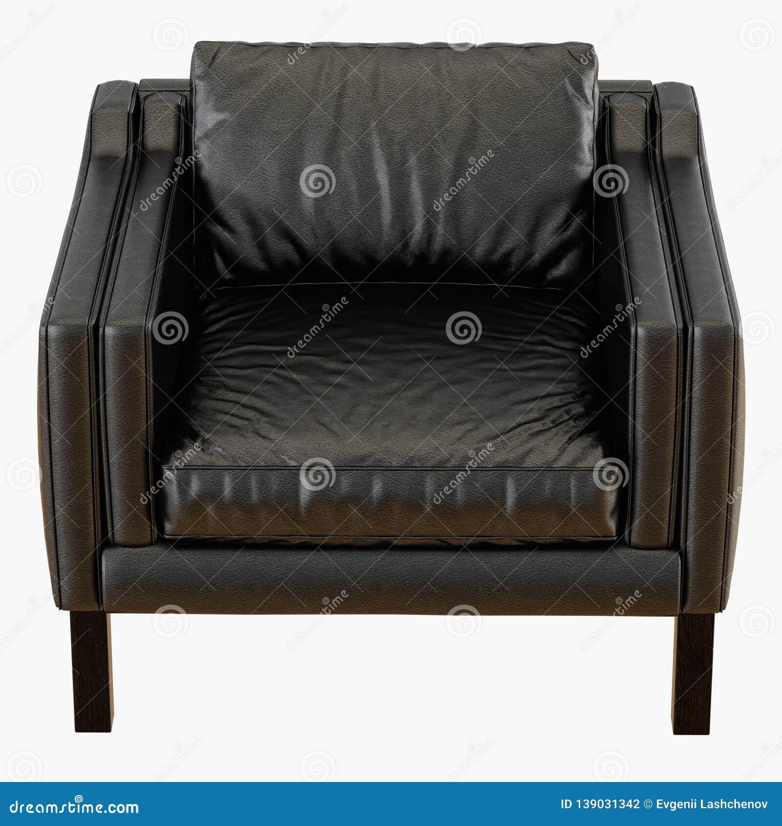 Astounding Soft Black Leather Armchair 3D Rendering On A White Dailytribune Chair Design For Home Dailytribuneorg
