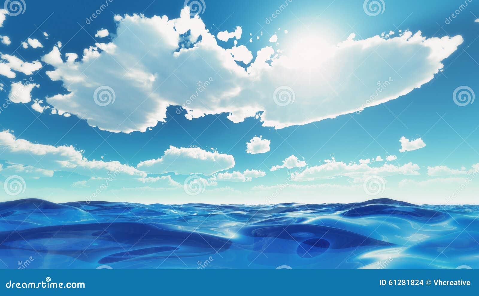 Sea waves under summer sky