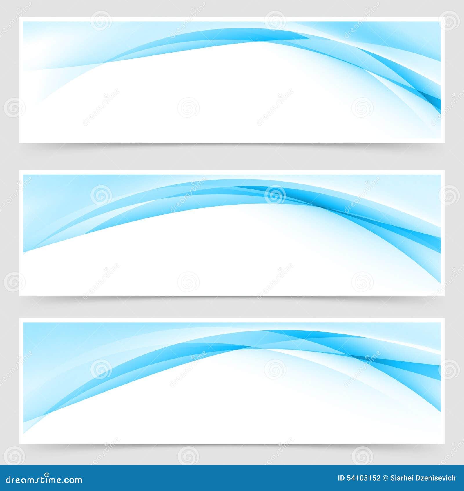 soft blue wave border template header set stock vector