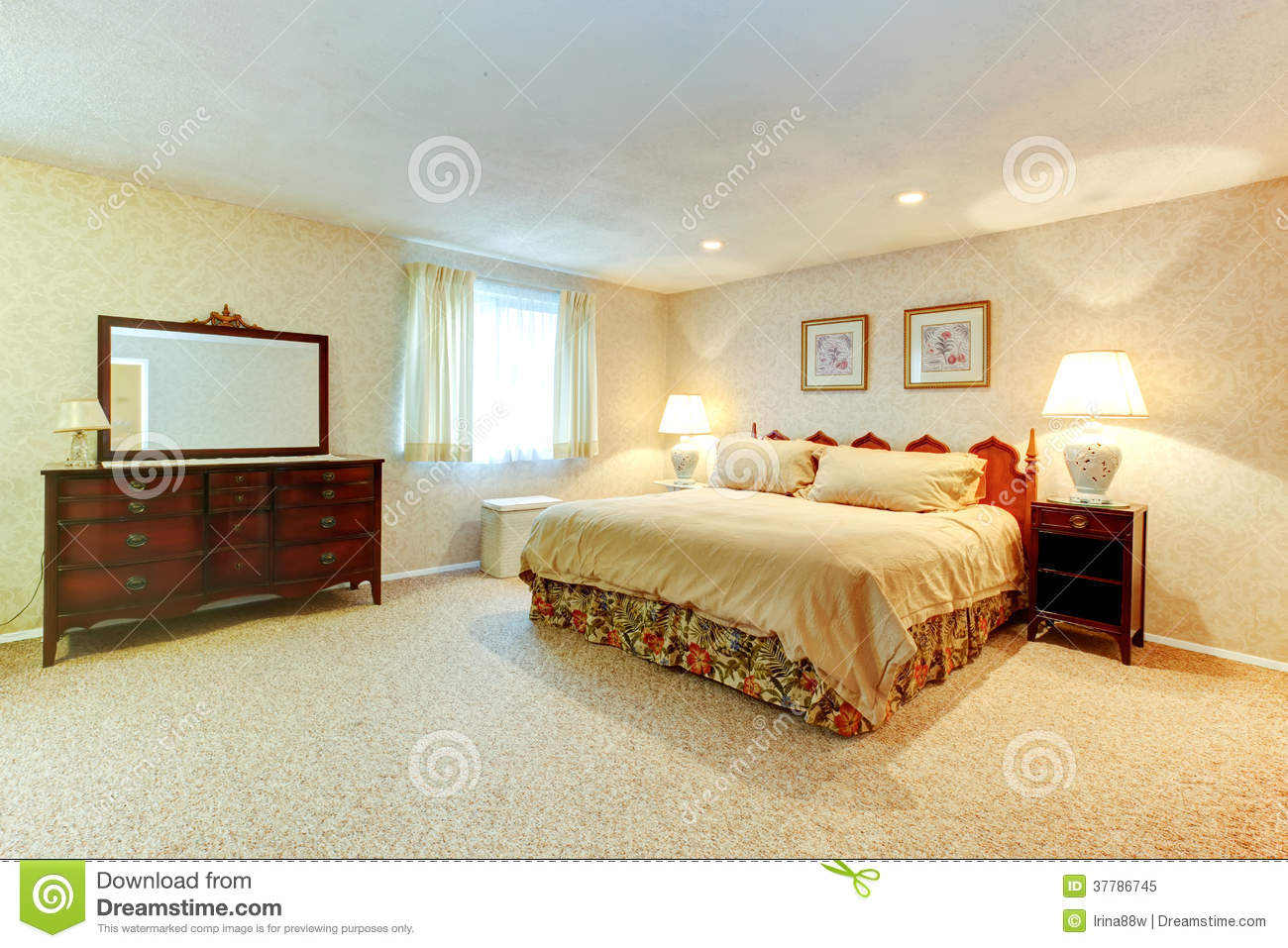 soft colors bedroom wtih antique furniture royalty free stock photo