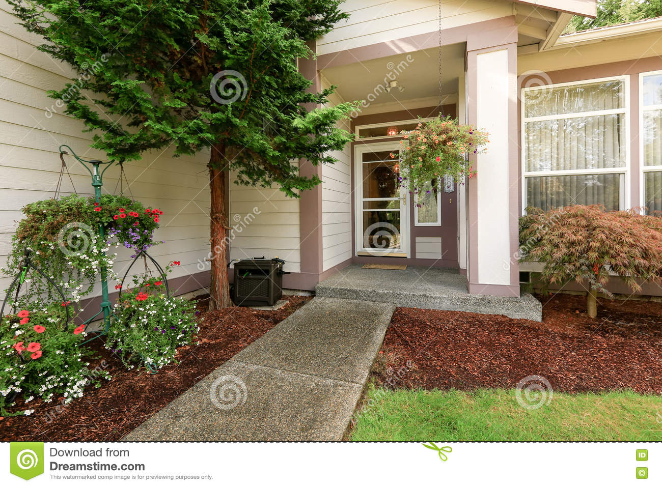 Soft Creamy Colors Siding House Entrance Porch With Glass Door