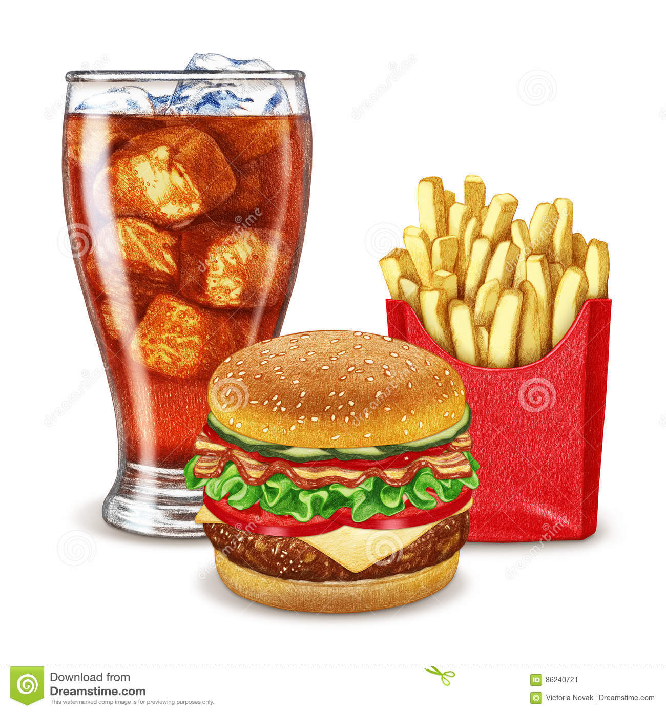 Soft Drink Cheeseburger And French Fries Stock