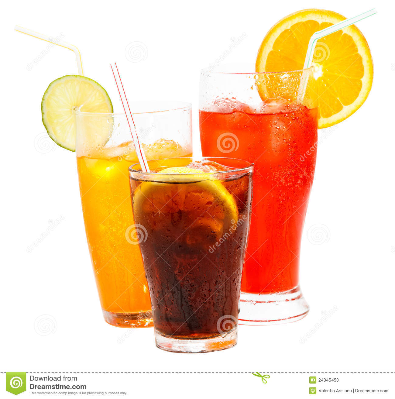 Glass of various soft drinks with icecubes and a straw isolated on ...