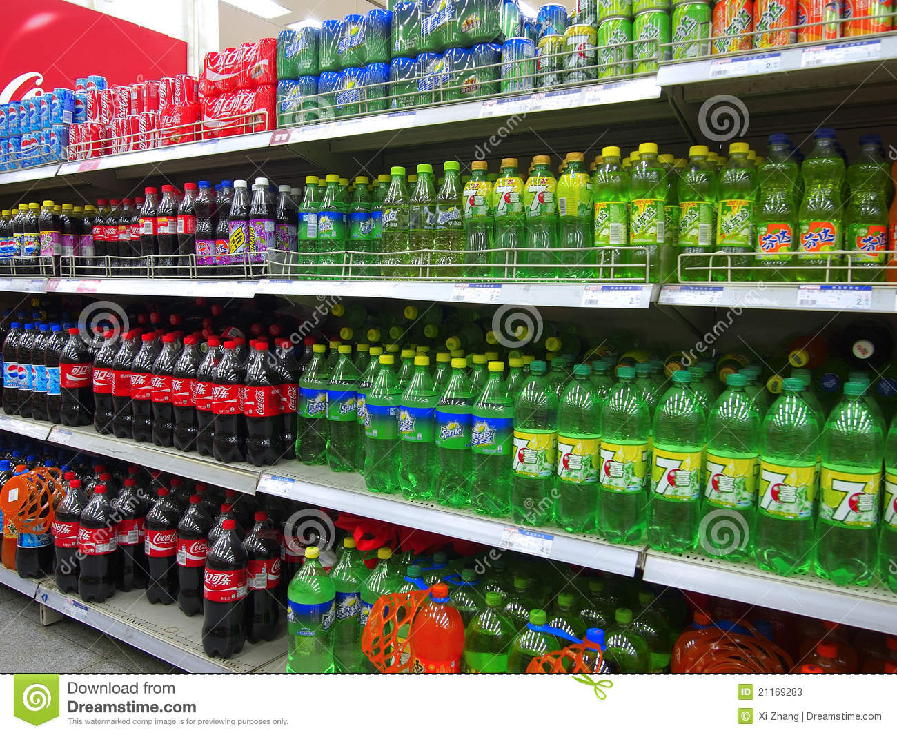 Soft Drinks And Beverages In Supermarket Editorial Stock