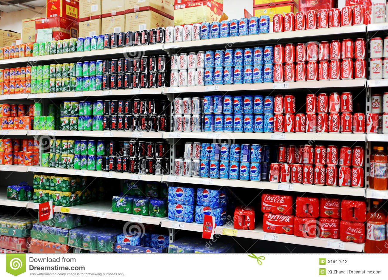 Soft Drinks And Beverages In Supermarket Editorial Photography - Image ...