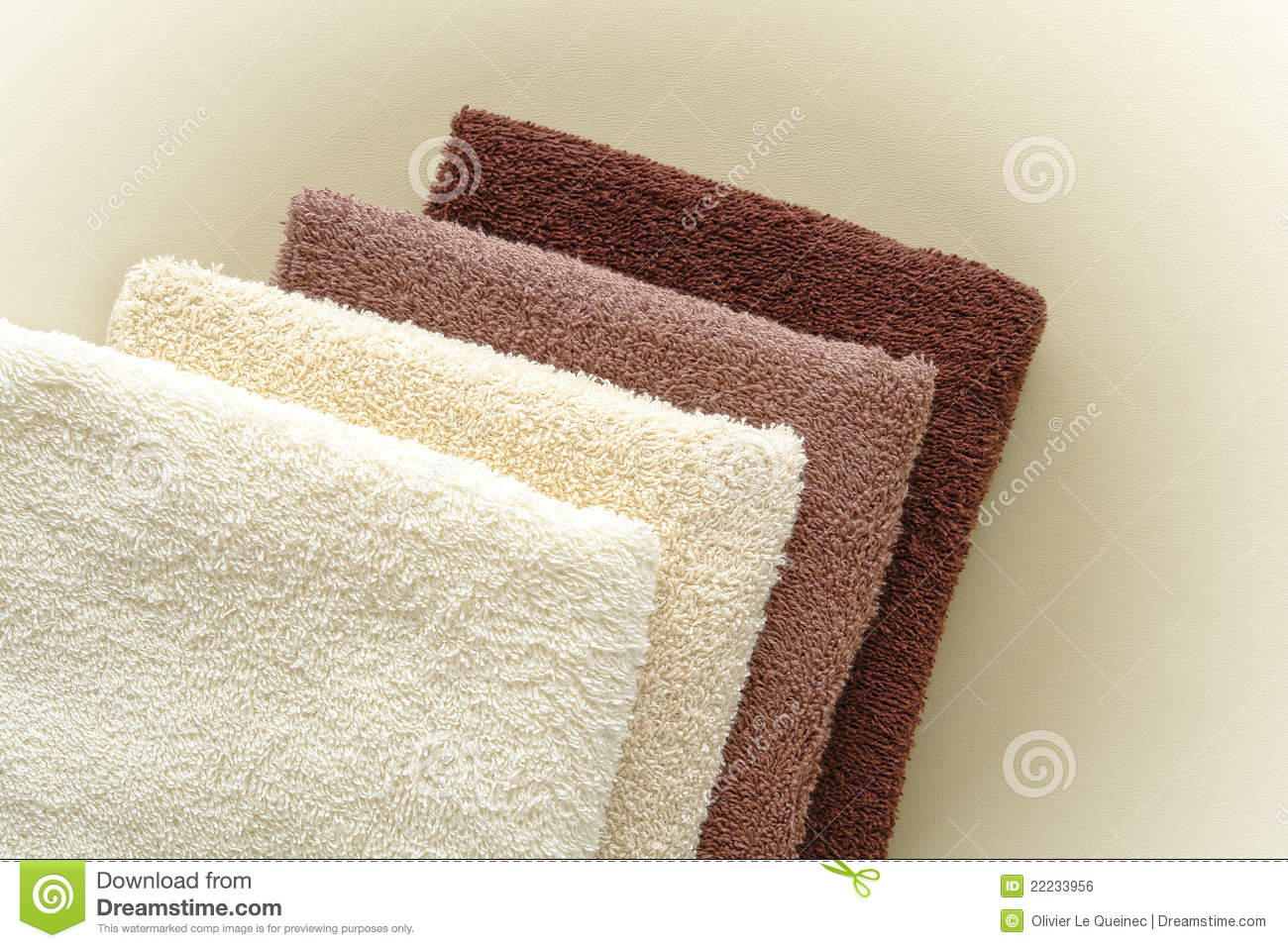 Soft And Fluffy Beige To Brown Cotton Bath Towels Stock