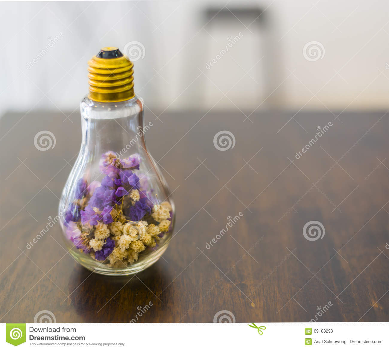 Soft Focus Dried Flowers In Light Bulb Stock Image Image