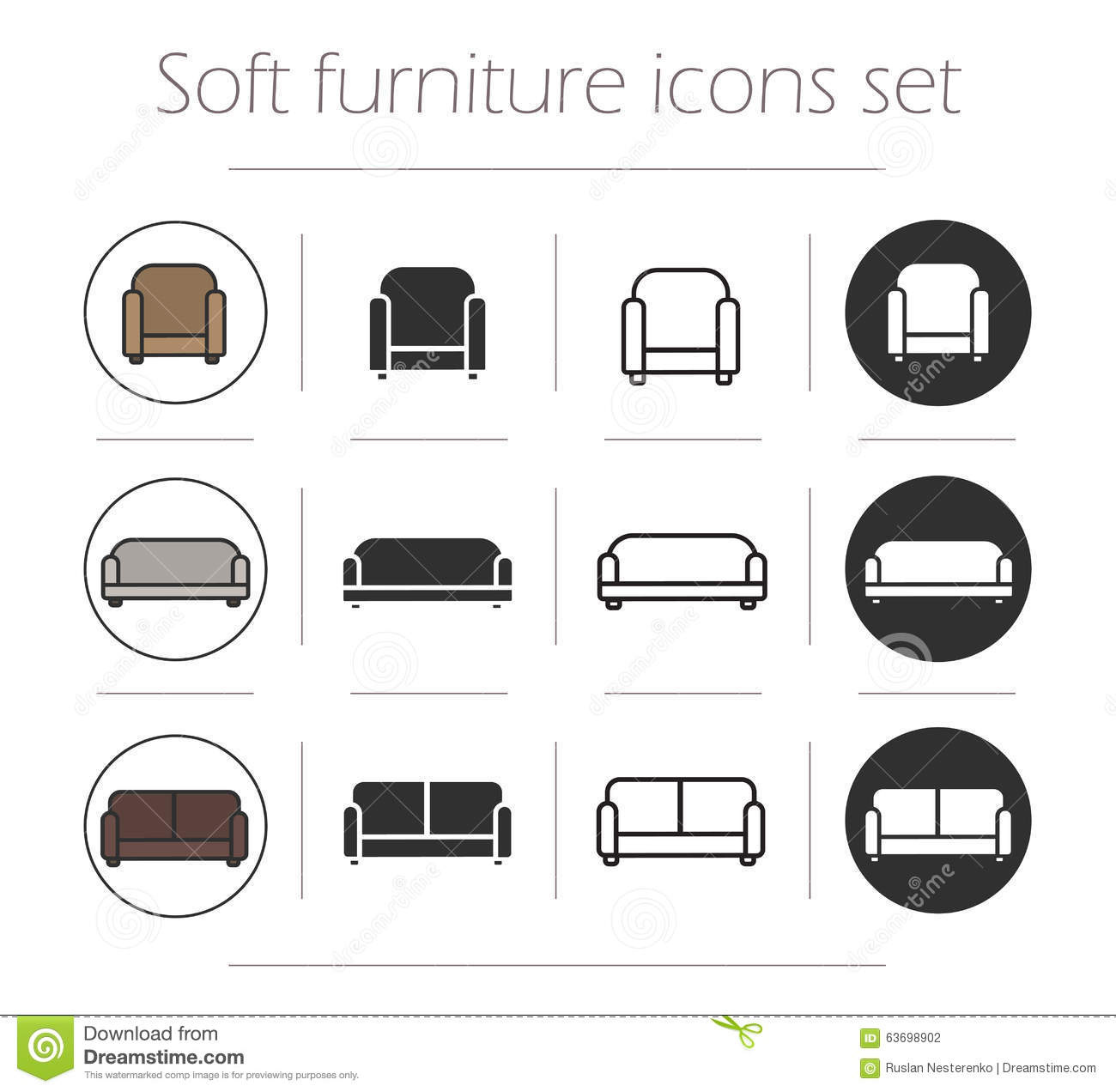 Line Art Icons : Soft furnishing icons set stock vector illustration of