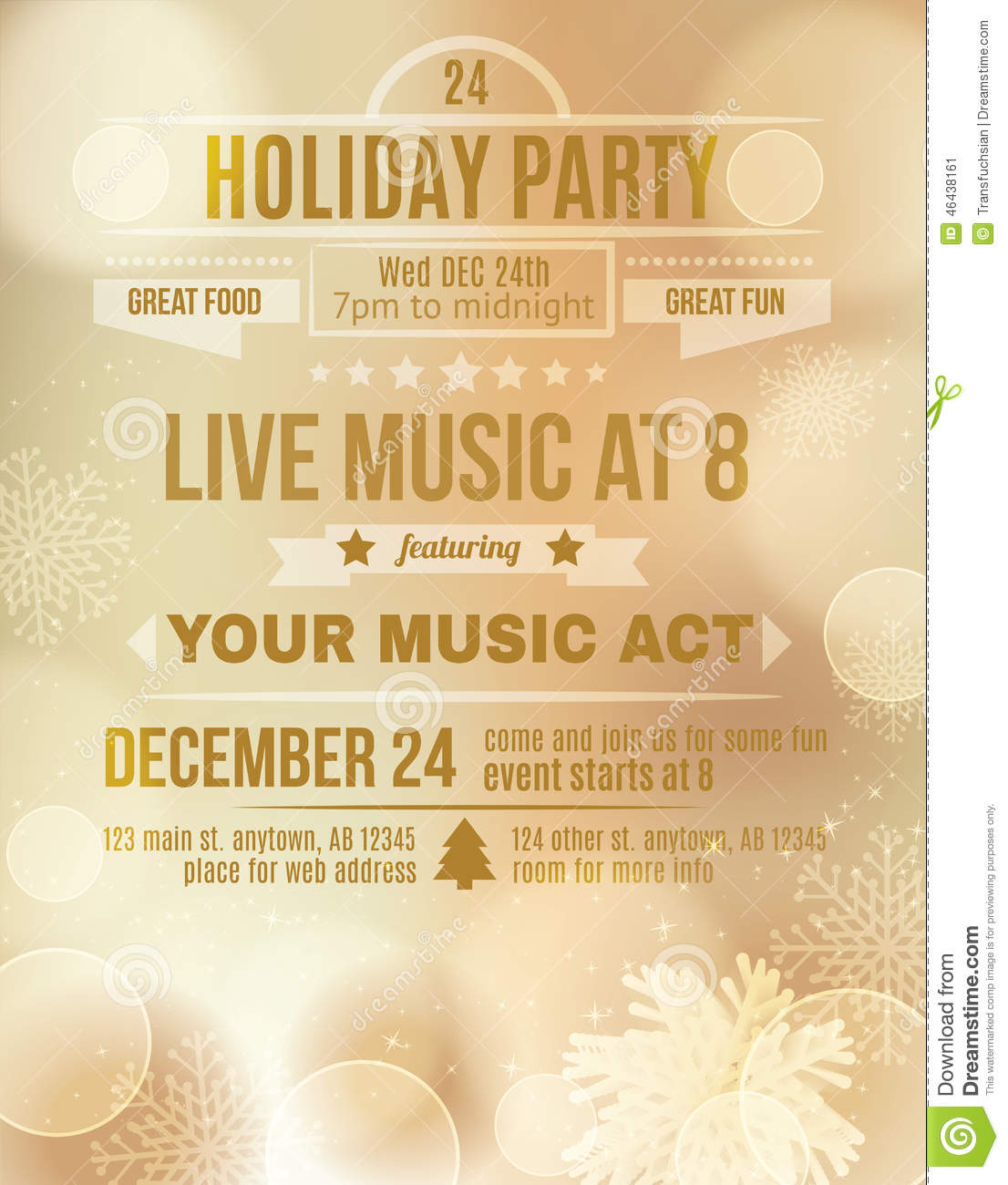 Elegant Christmas Party Invitation Template – Holiday Party Flyer Template